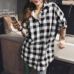 NANING9 - Oversized Gingham Shirt