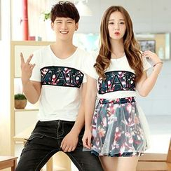 Azure - Couple Matching Lettering T-Shirt / Lettering T-Shirt + Floral Print Skirt