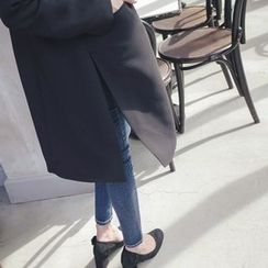 mimi&didi - Notched-Lapel Single-Breasted Long Jacket