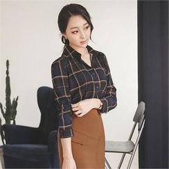 ode' - Long-Sleeve Plaid Shirt