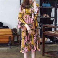 NEUF - 3/4-Sleeve Print Pleated A-Line Dress