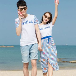 Azure - Couple Matching Stripe Lettering Short-Sleeve T-Shirt / Midi Dress