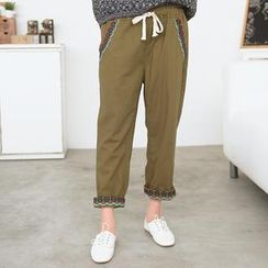 59 Seconds - Drawstring Waist Embroidered Pants