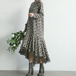 NANING9 - A-Line Floral Print Dress