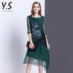 Y:Q - Floral Print 3/4-Sleeve Shift Dress