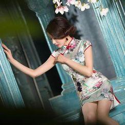 四小姐旗袍 - 蓋袖碎花中式旗袍