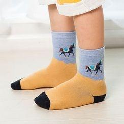 lalalove - 童装马匹插色袜