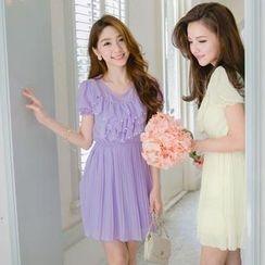 Tokyo Fashion - Beaded Ruffle-Front Pleated Chiffon Dress