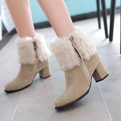 Pastel Pairs - Furry Trim Block Heel Short Boots