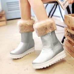 Pastel Pairs - Furry Trim Short Boots