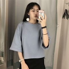 Rollis - Plain Elbow-Sleeve T-Shirt