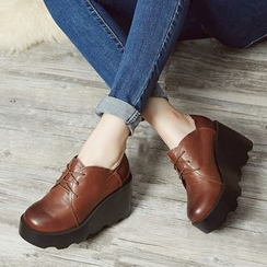 LARKSPUR - Genuine Leather Wedge Oxfords