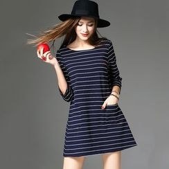Y:Q - Striped 3/4 Sleeve Mini Dress