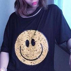 Cerauno - Smiley Print Short-Sleeve T-Shirt