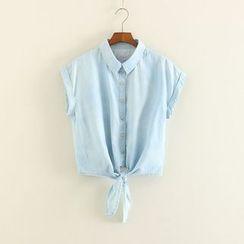 三木社 - 領帶下擺短袖牛仔襯衫