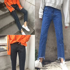 Windflower - Fray-Hem Slim-Fit Cropped Jeans