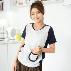 59 Seconds - Short Sleeved Eyelet Lace T-Shirt
