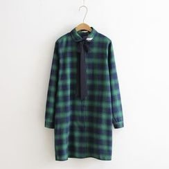 Tangi - Tie Neck Check Long Shirt