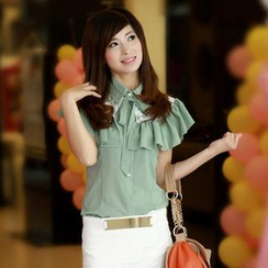Cobogarden - Frilled Trim Sleeveless Chiffon Blouse