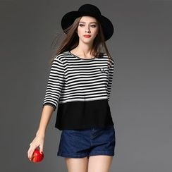 Y:Q - Striped Panel Elbow Sleeve Knit Top