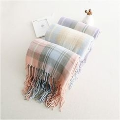 Storyland - Fringe-Trim Plaid Winter Scarf