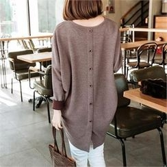 JOAMOM - Drop-Shoulder Button-Back T-Shirt