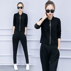Rosehedge - Set: Plain Zip Jacket + Sweatpants