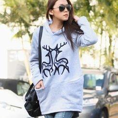 SO Central - Deer-Appliqué Hooded Pullover Dress