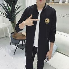 Masowild - Smiley Face Applique Long Zip Jacket
