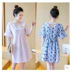 Dream Girl - Maternity Short-Sleeve Star Print Dress