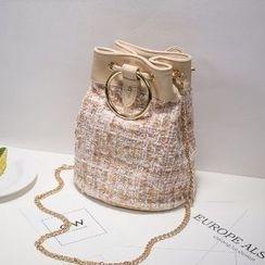 Axixi - Drawstring Chain-Strap Cross Bag