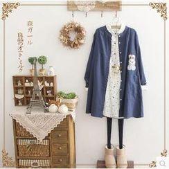 Forest Girl - Mandarin Collar Rabbit Appliqué Shirtdress