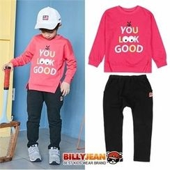 BILLY JEAN - Kids Set: Lettering Top + Banded-Waist Pants