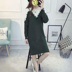 Florie - Long-Sleeve Color-Block Knit Dress
