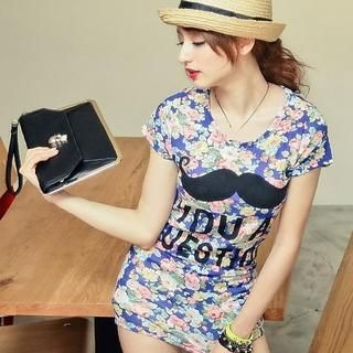 Sweet Dolly - Short-Sleeve Mustache-Print Floral T-Shirt