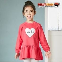 BILLY JEAN - Kids Ruffled-Hem Heart-Printed Top