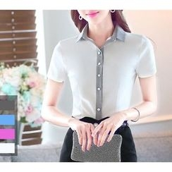 Arcadian - Two Tone Short Sleeve Dress Shirt /  Pencil Skirt