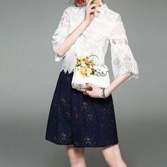 Alaroo - Set: Lace 3/4-Sleeve Top + A-line Skirt