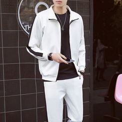 Danjieshi - Set: Contrast Trim Zip Jacket + Sweatpants