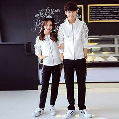 Lovebirds - Set: Couple Printed Hooded Jacket + Pants