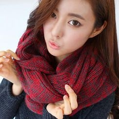 Cuteberry - Melange Knit Circle Scarf