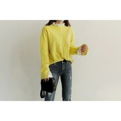 UPTOWNHOLIC - Round-Neck Slit-Sleeve Knit Top