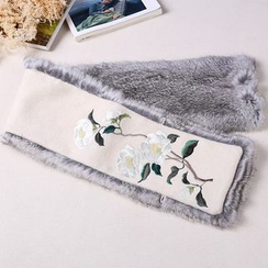 Rega - Embroidered Furry Scarf