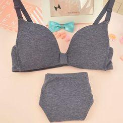 Heart2Heart - Set : Plain Deep V Wireless Bra + Panties