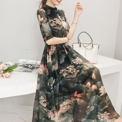 Diosa - Floral Print 3/4-Sleeve Chiffon Dress