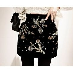 Marlangrouge - Embellished Mini Skirt