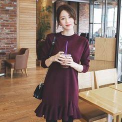 mimi&didi - Ruffle-Hem Wool Blend Knit Mini Dress