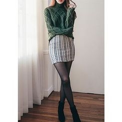 Chlo.D.Manon - Patterned Tweed Mini Pencil Skirt
