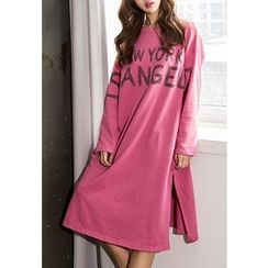 REDOPIN - Lettering Slit-Side T-Shirt Dress