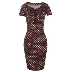 Forest Of Darama - Dotted Short Sleeve Midi Dress